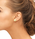 13mm Golden South Sea Pearl Stud Earrings- Choose Your Quality - Model Image
