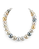CERTIFIED 15-16.7mm South Sea Multicolor Pearl Necklace - AAA Quality