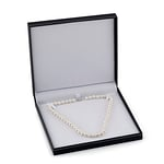 8-9mm White Freshwater Pearl & Diamond Adjustable Y-Shape Necklace- AAAA Quality - Fourth Image