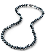 5.0-5.5mm Japanese Akoya Black Pearl Necklace - AAA Quality