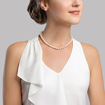 6.5-7.0mm Japanese Akoya White Pearl Necklace- AAA Quality - Model Image