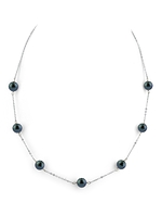 7.0-7.5mm Japanese Akoya Black Pearl Tincup Necklace