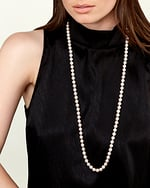 8.0-8.5mm Opera Length Japanese Akoya Pearl Necklace - Model Image