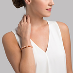 7-8mm Peach Freshwater Pearl Bracelet - AAAA Quality - Model Image