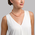 7-8mm Peach Freshwater Pearl Necklace - Model Image