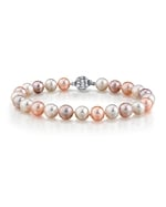 7-8mm Multicolor Freshwater Pearl Bracelet - AAAA Quality