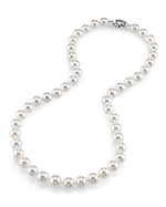 8-10mm Japanese Akoya White Pearl Necklace - AAA Quality