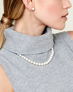 8-9mm White Freshwater Pearl Necklace - AAAA Quality - Model Image