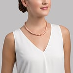 8-9mm Peach Freshwater Pearl Necklace - Secondary Image