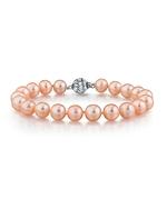 8-9mm Peach Freshwater Pearl Bracelet - AAAA Quality