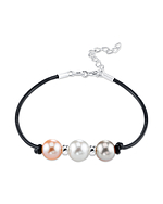 8mm Multicolor Freshwater Pearl & Silver Rondelle Leather Bracelet