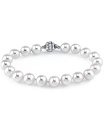9-10mm White Freshwater Pearl Bracelet - AAAA Quality