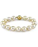 9-10mm Champagne Golden South Sea Pearl Bracelet - AAAA Quality