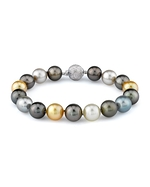9-10mm Tahitian & Golden South Sea Pearl Bracelet - AAAA Quality