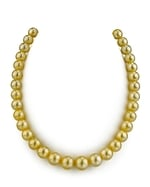 CERTIFIED 9-11mm Golden South Sea Pearl Necklace - AAAA Quality