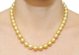 9-11mm Golden South Sea Pearl Necklace - Model Image