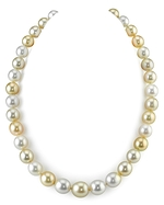 9-12mm Oval Golden & White South Sea Multicolor Pearl Necklace