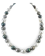 9-12mm Tahitian & White South Sea Multicolor Baroque Pearl Necklace