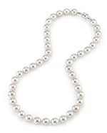 9.5-10mm Japanese Akoya White Pearl Necklace- AAA Quality