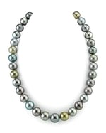 CERTIFIED 12-13.7mm Tahitian Multicolor Pearl Necklace - AAAA Quality