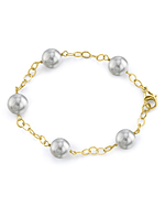 White South Sea Round Pearl Tincup Bracelet - Model Image