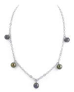 9mm Dangling Tincup Tahitian South Sea Multicolor Pearl Necklace