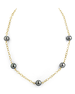 Tahitian South Sea Round Pearl Tincup Necklace - Model Image