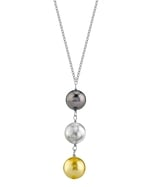 South Sea Multicolor Pearl Triple Drop Pearl Pendant