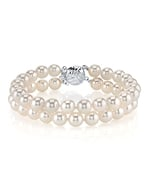 Japanese Akoya White Double Pearl Bracelet - Various Sizes