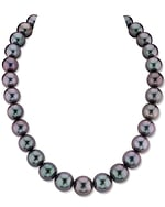 CERTIFIED 12-14mm Purple Eggplant Tahitian South Sea Pearl Necklace - AAAA Quality