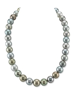 12-14mm Tahitian South Sea Light Multicolor Pearl Necklace - AAAA Quality