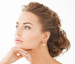 Golden Pearl & Diamond Michelle Earrings - Model Image