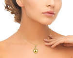 14mm Golden South Sea Pearl & Diamond Agnes Pendant - Model Image