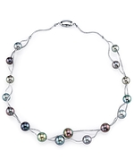 Designer Tahitian South Sea Pearl Sterling Silver Double Necklace