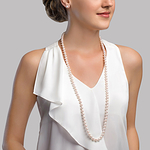 8.0-8.5mm Opera Length Japanese Akoya Pearl Necklace - Secondary Image