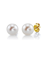 7mm White Freshwater Pearl Stud Earrings - Third Image