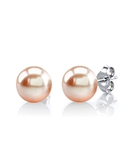 7mm Peach Freshwater Pearl Stud Earrings