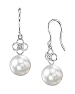 White South Sea Pearl & Diamond Lacy Earrings