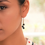 Black Akoya Pearl Cluster Earrings - Model Image