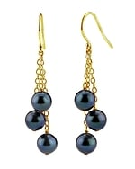 Black Akoya Pearl Cluster Earrings - Third Image