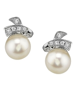 Akoya Pearl & Diamond Chloe Earrings- Choose Your Pearl Color
