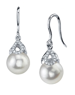 Freshwater Pearl & Diamond Alice Earrings