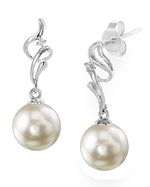 White Akoya Pearl & Diamond Aria Earrings