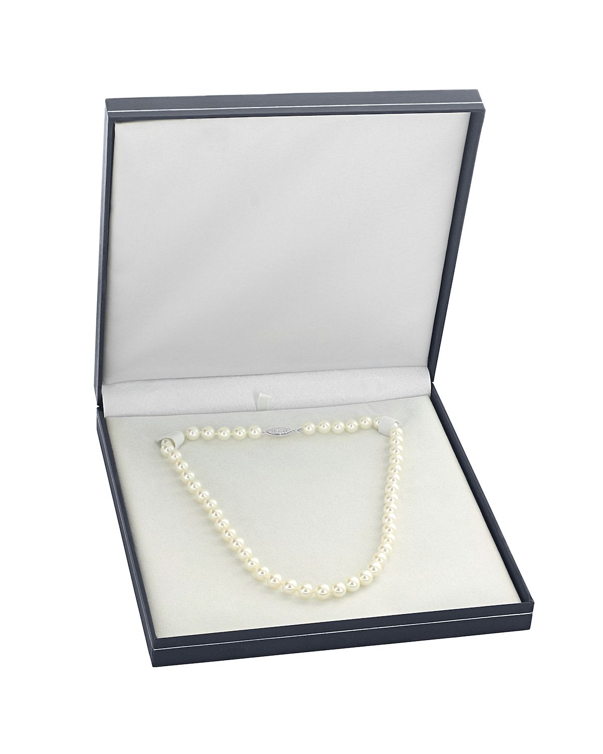8-10mm Japanese Akoya White Pearl Necklace - AAA Quality - Third Image