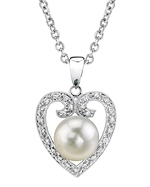 Akoya Pearl Heart-Shaped Diamond Pendant- Choose Your Pearl Color
