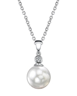 Akoya Pearl & Diamond Michelle Pendant- Choose Your Pearl Color