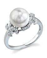 Akoya Pearl & Diamond Crown Jewel Ring