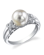 Akoya Pearl & Diamond Swirl Ring