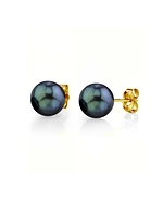 6.5-7.0mm Black Akoya Pearl Stud Earrings - Third Image