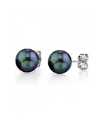 7.0-7.5mm Black Akoya Pearl Stud Earrings